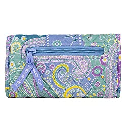 Quilted Hanging Wallet Purse with Removable Shoulder Strap (Aqua Paisley)