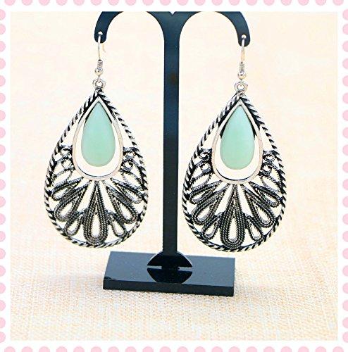 usongs models earrings exaggerated long paragraph retro silver turquoise earrings women girls jewelry earrings pierced earrings ()