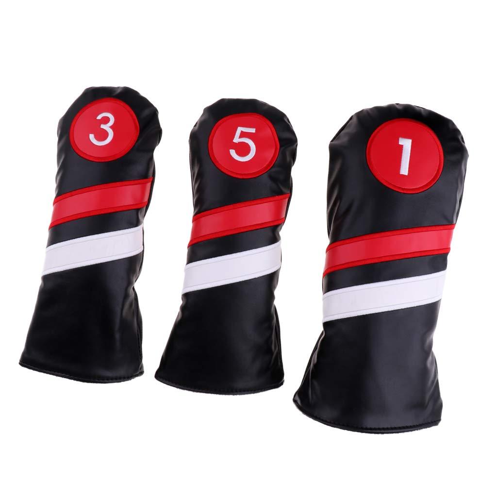 B Baosity防水PUゴルフヘッドカバー#1ドライバー#3#5フェアウェイウッズクラブヘッドカバー - 3PCSブラックセット   B07M6BRBD7