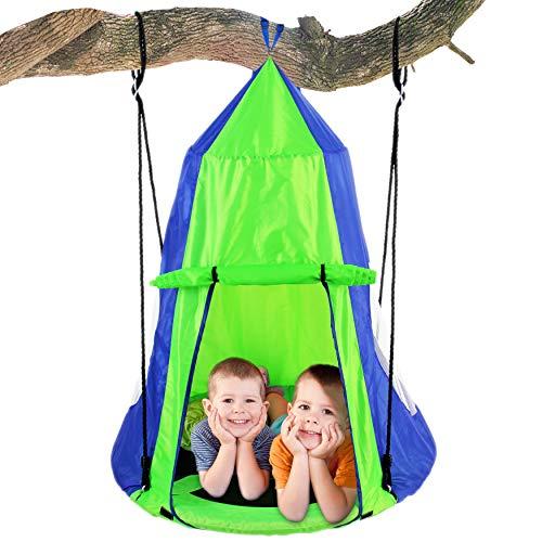 SereneLife Kids Hanging Chair Hammock Swing - Nest Pod Hanging Swing Chairs for Bedrooms/Outdoor Tree/Swing Set - Outdoor Indoor Bedroom Sensory Swing w/Detachable Hangout Play Tent SLSWNG350