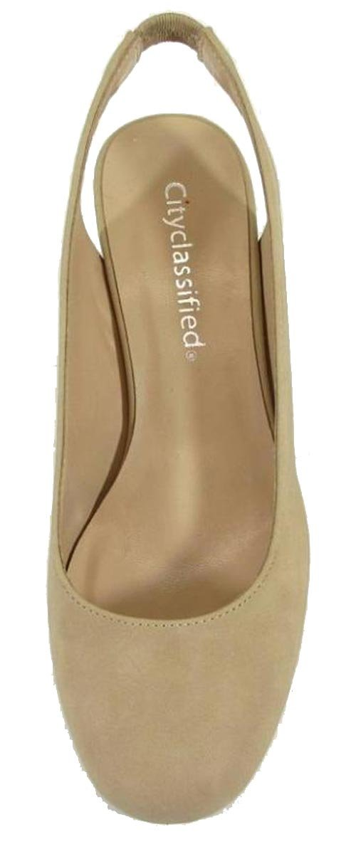 City Classified Women's Slingback Round Toe Block Heel Sandal Pump (10 B(M) US, Natural NBPU) by City Classified (Image #3)