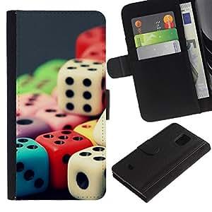 EJOY---Tirón de la caja Cartera de cuero con ranuras para tarjetas / Samsung Galaxy S5 Mini, SM-G800 / --Color del arco iris de los dados