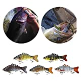 Lixada 10cm/4″ 15.5g Bionic Multi Jointed Fishing Lure SUN-FISH Lifelike Hard Bait Bass Yellow Perch Walleye Pike Muskie Roach Trout Swimbait