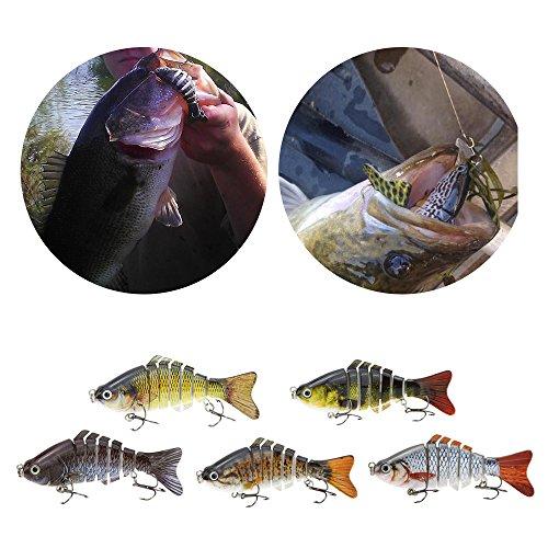 "Lixada 10cm/4"" 15.5g Bionic Multi Segmented Fishing Lure SUN-FISH Lifelike Hard Bait Bass Yellow Perch Walleye Pike Muskie Roach Trout Swimbait"