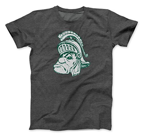 Michigan State Mascot Spartans (Nudge Printing Retro Michigan State University Spartans Gruff Sparty Ultra Soft T-shirt (Small))