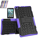 Amazon Fire HD 8 Tablet (7th & 8th, 2017/2018 Release), Cherrry Heavy Duty Shockproof Full Body Rugged Impact Case Cover Built-in Kickstand + Screen Protector and Stylus Pen (Purple)