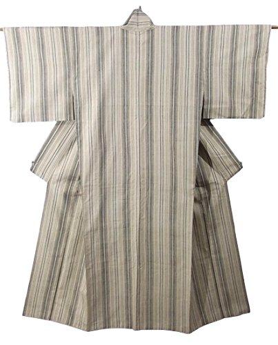 あからさまサービスフォーマルリサイクル 着物  結城玉紬 縦縞文様 正絹 袷 裄65.5cm 身丈159cm