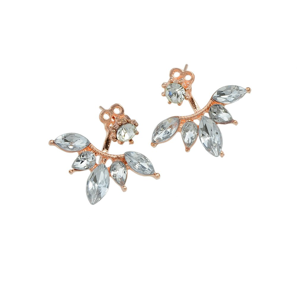 Feelontop/® Leaf Crystal Lotus Flower Ear Jacket Earrings Chic Gold Sivler Rosegold Tone with Jewelry Pouch