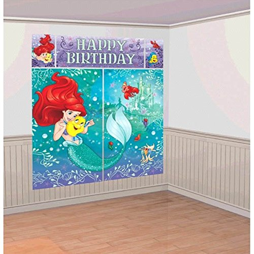 Disney Little Mermaid Princess Ariel Dream Big Kids Party Scene Setter Wall Decorations Kit - Kids Birthday and Party Supplies Decoration -