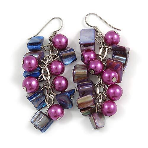 Purple Glass Bead, Shell Nugget Cluster Dangle/Drop Earrings In Silver Tone - 60mm Long