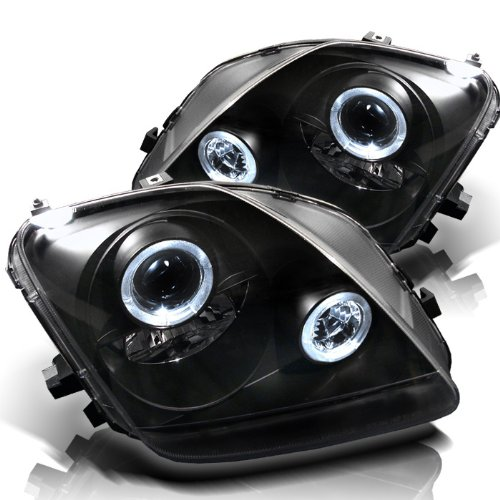 Led Projector Prelude (Honda Prelude Projector Headlights LED Halo Black Housing With Clear Lens)