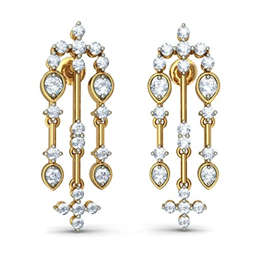 14 K Or jaune 1.4 CT TW White-diamond (IJ | SI) Pendants d'oreilles