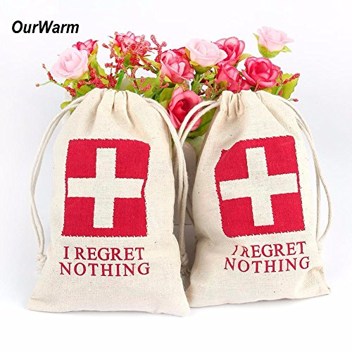 Miss.AJ I REGRET NOTHING Wedding Party Favor Bags RED GLITTER CROSS Bachelorette Hangover Kit Bags Recovery Kit Bags Survival Kit Bags Cotton Muslin Drawstring Bag