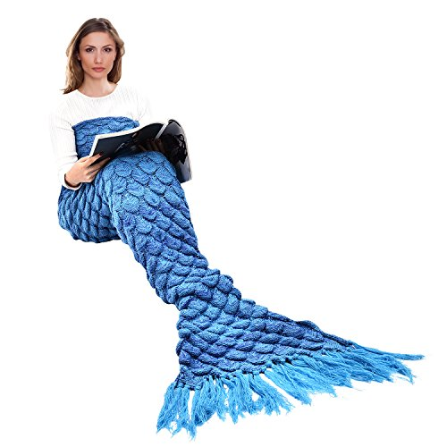 Adult and Child New Mermaid Knitting Fish Blanket (Red) - 2