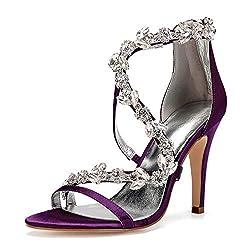 Open Toe Zipper Back Strap High Heel Grape Sandals