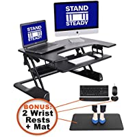 "FlexPro Precision 35"" Standing Desk Starter KIT + Bonus Diplomat Anti-fatigue Mat, Ergonomic Keyboard Rest, Wrist Rest!"