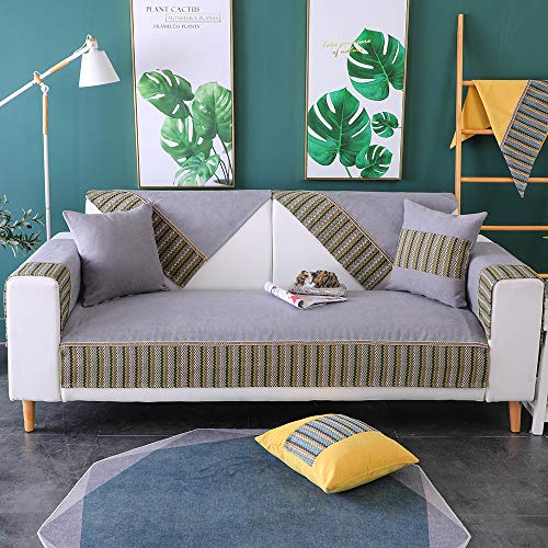 TEWENE Couch Cover, Sofa Cover Sofa Slipcover Couch Slipcover Anti-Slip Sectional Slipcover for Dogs Cats Pet Love Seat Leather Couch Recliner Gray(2pcs/28