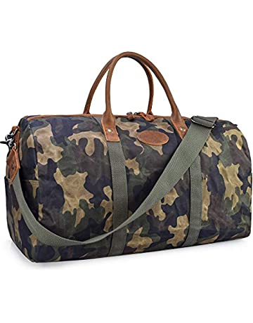 69a81b34e21c Travel Duffel Bag Waterproof Canvas Overnight Bag Leather Weekend Carryon  Bag