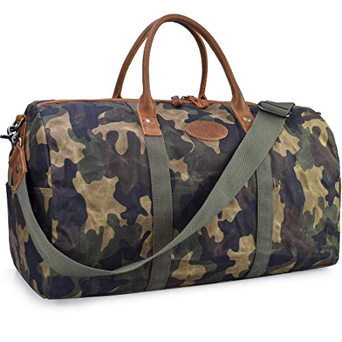 Travel Duffel Bag Waterproof Canvas Overnight Bag Leather Weekend Carryon Bag Camo