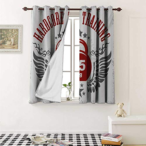 (shenglv Fitness Blackout Draperies for Bedroom Bodybuilding Themed Emblem in Vintage Style Hardcore Training Wings Stars Curtains Kitchen Valance W72 x L63 Inch Red White Silver)