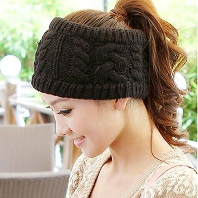 Flammi Women's Twist Flower Knit Headband Ear Warmer