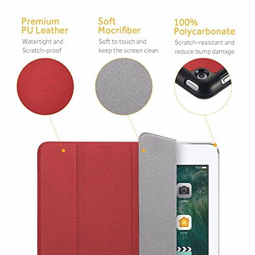 EasyAcc Funda iPad 2017 9.7 A1822/A1823 Ligera Auto-Desbloquear Función de Soporte Case Protectora y Resistente Gris Rojo