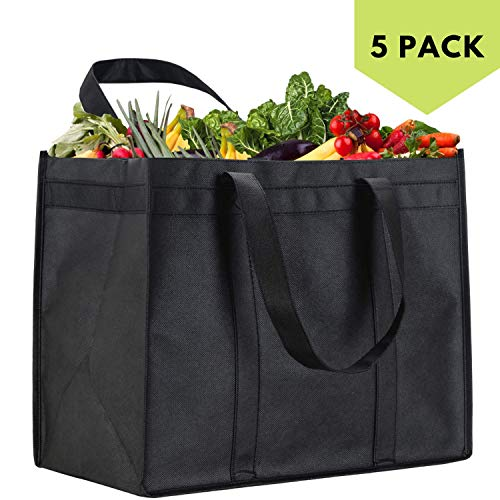 NZ Home XL Reusable Grocery Bags, Heavy Duty Shopping Tote, Stands Upright, Foldable, Washable, Extra Large, Completely Reinforced Bottom & Straps (Black 5 Pack)