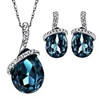 Neoglory Angle Tear Made with Swarovski Elements Crystal Jewelry Set, Pendant Necklace, Earrings,18