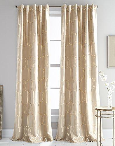 DKNY Atrium Faux Suede Metallic Print Window Curtain Panel Pair