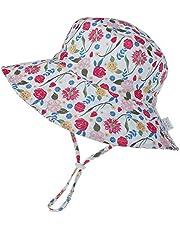 Kids4ever Baby Sonnenhut mit Verstellbarem Kinnriemen UV Schutz 50 Sommermütze Strand Atmungsaktiver Niedlicher Muster Fisherhut