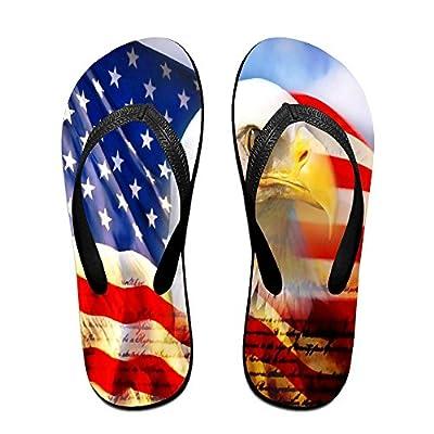 HXXUAN Unisex Non-slip Flip Flops Eagle And American Flag Cool Beach Slippers Sandal