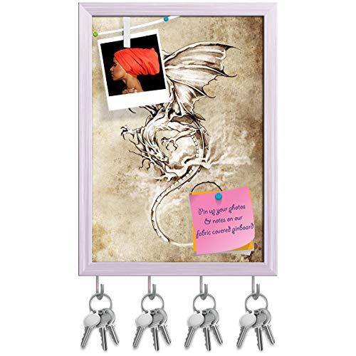 Artzfolio Tattoo Art Classic Dragon Key Holder Hooks | Notice Pin Board | White Frame 10 X 13.9Inch
