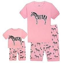 Girls Matching Doll&Toddler CAT 4 Piece Short Cotton Pajamas Kids Clothes