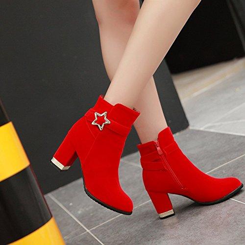Aisun Damen Metallic Sterne Schnalle Riemchen Blockabsatz Kurzschaft Stiefel Mit Reißverschluss Rot