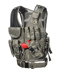 Ultimate Arms Gear Tactical ACU Army Digital Camo Camouflage Lightweight Edition Tactical Scenario Military-Hunting Assault Vest w/ Right Handed Quick Draw Pistol Holster