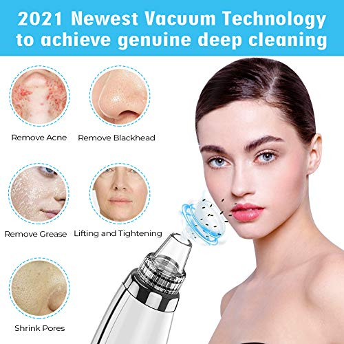 2021 Newest Blackhead Remover Pore Vacuum,Upgraded Facial Pore Cleaner,Electric Acne Comedone Whitehead Extractor Tool-5…