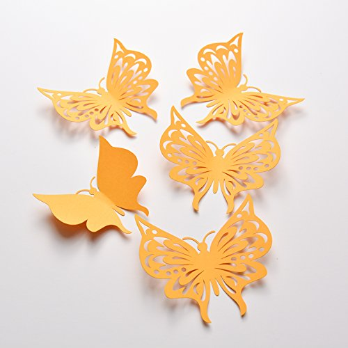 Amazon.com: 16 Yellow Gold Butterfly Wall Decals, Paper ...