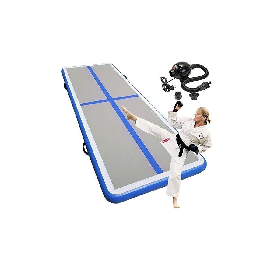 "Miidii 118"" Inflatable Gymnastic Yoga Pad Air Track Floor Airtrack Tumbling Yoga Mat For Home Use, Gymnastics Training, Beach, Taekwondo, Cheerleading With Electric Air Pump"