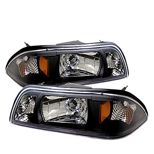 For 87-93 Ford Mustang 1 Piece Pair Black Housing Pair Headlights Headlamps Reflector Lamp