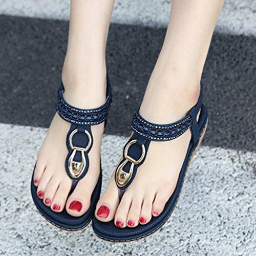 Femmes Strass Plage Plat Tongs Bohème Sandales Comfort étincelle Été élastique String Noir Bleu yFJsJBWjV