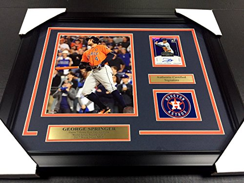 GEORGE SPRINGER 2017 WORLD SERIES ASTROS Autographed Cd 8x10 PHOTO FRAMED