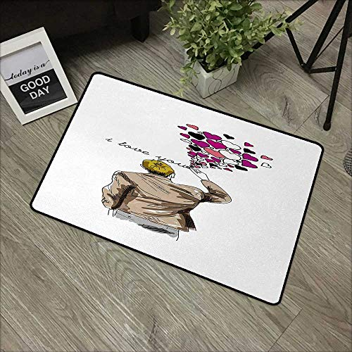Restaurant mat W19 x L31 INCH I Love You,Romantic Comic Male Character Writing Declaration of Love with Heart Shapes,Multicolor Non-Slip, with Non-Slip Backing,Non-Slip Door Mat Carpet