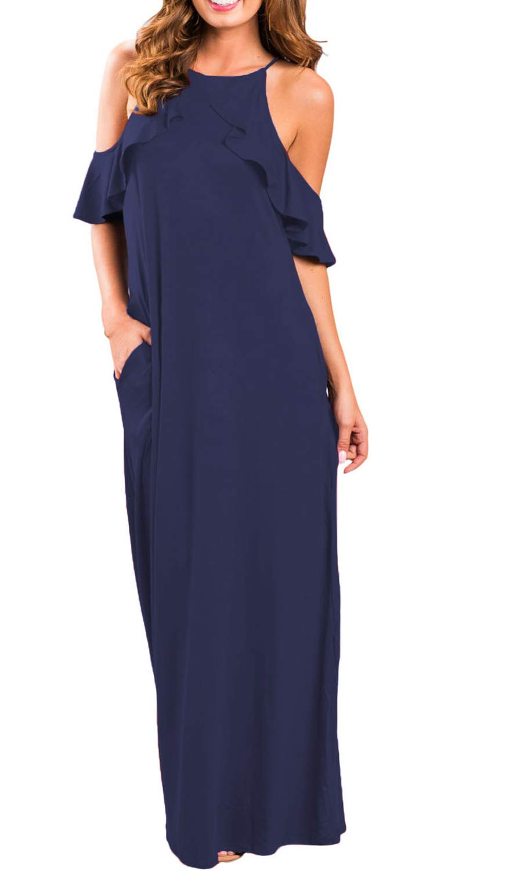 I2CRAZY Women Summer Pockets Casual Swing Cami Slip Maxi Sundress(Size-L,NavyBlue)
