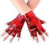 JISEN Women Wet Look Lace Heart Insert Fingerless Lame Gloves 5.5 Inch Red