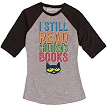 Pete the Cat Licensed Character Read Children's Books Ladies Raglan