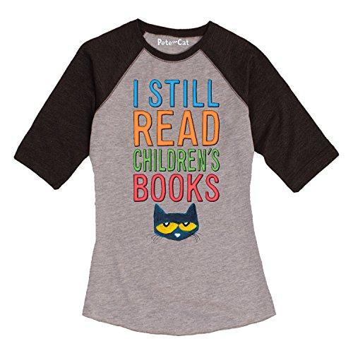 Pete the Cat I Still Read Books-Ladies Raglan-M (Pete The Cat T Shirts For Adults)