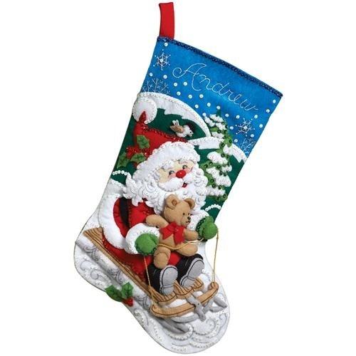 Bucilla 18-Inch Christmas Stocking Felt Applique Kit, 86279 Santa's Sled 86279 Santa's Sled Plaid Inc