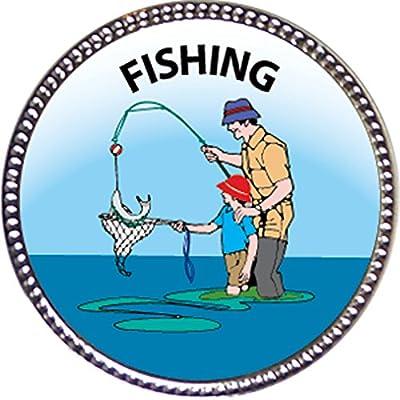 Keepsake Awards Fishing Award, 1 inch Dia Silver Pin Outdoor Skills Collection: Toys & Games