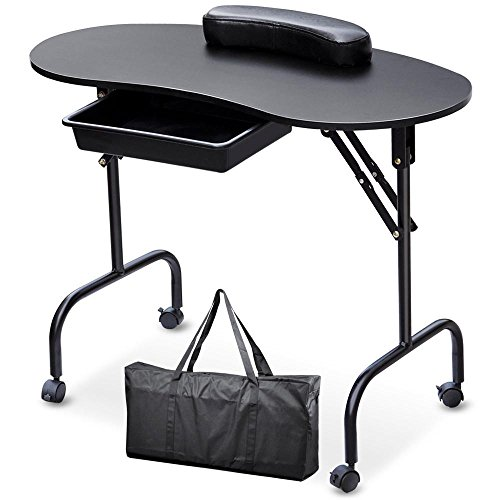 Topeakmart Manicure Nail Table Station – Foldable Nail Technician Desk Workstation Spa Beauty Salon w/Drawer/Client Wrist Pad/lockable Wheels/Carrying Case Black 37-inch Black