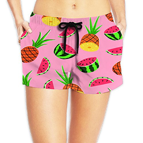 Women's Awesome Fruits Pineapple Watermelon Quick Dry Beach Board Shorts M
